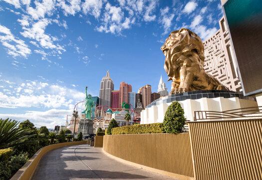 Las Vegas Strip, MGM Grand Lion and New York New York Hotel and Casino - Las Vegas, Nevada, USA