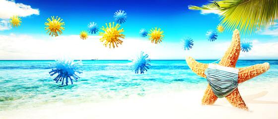Starfish with corona virus masks on vacation