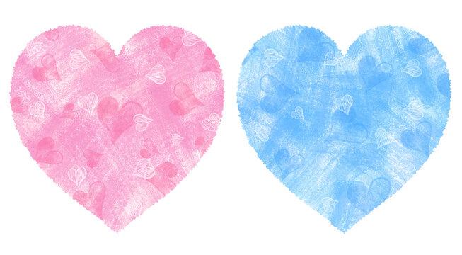 ピンクとブルーのハッピーハートセット パステル風