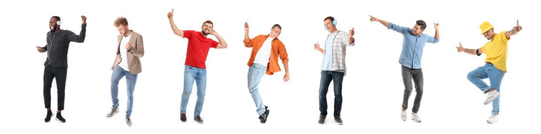 Handsome men dancing against white background