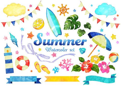 水彩風の夏、ベクターイラストセット