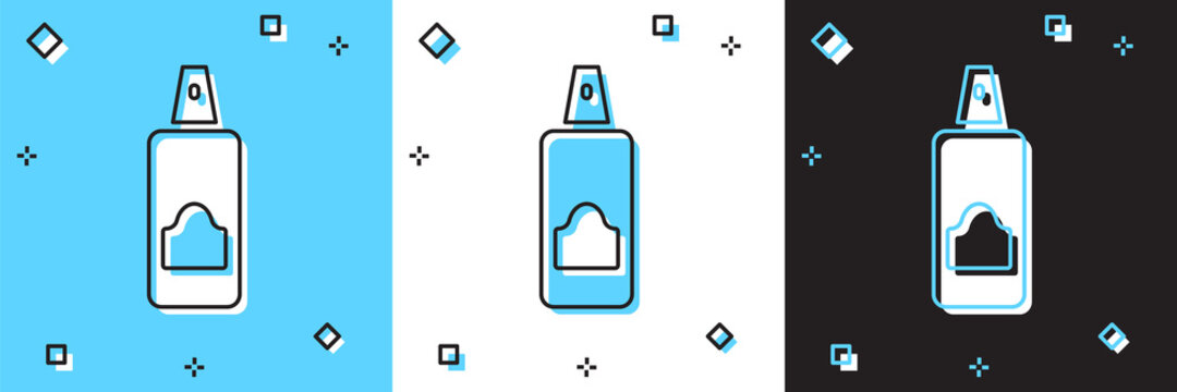 Set Spray can for hairspray, deodorant, antiperspirant icon isolated on blue and white, black background. Vector