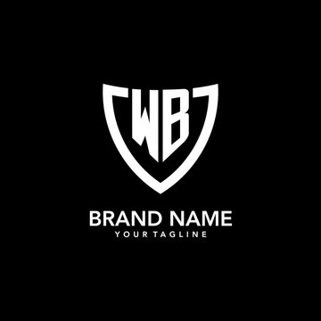 WB monogram initial logo with clean modern shield icon design