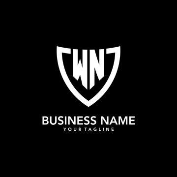 WN monogram initial logo with clean modern shield icon design