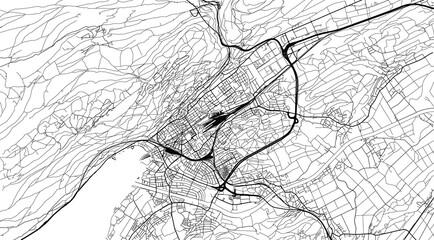 Obraz Urban vector city map of Biel and Bienne, Switzerland, Europe - fototapety do salonu
