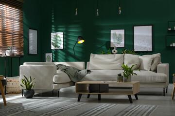 Obraz Modern living room interior with stylish comfortable sofa - fototapety do salonu