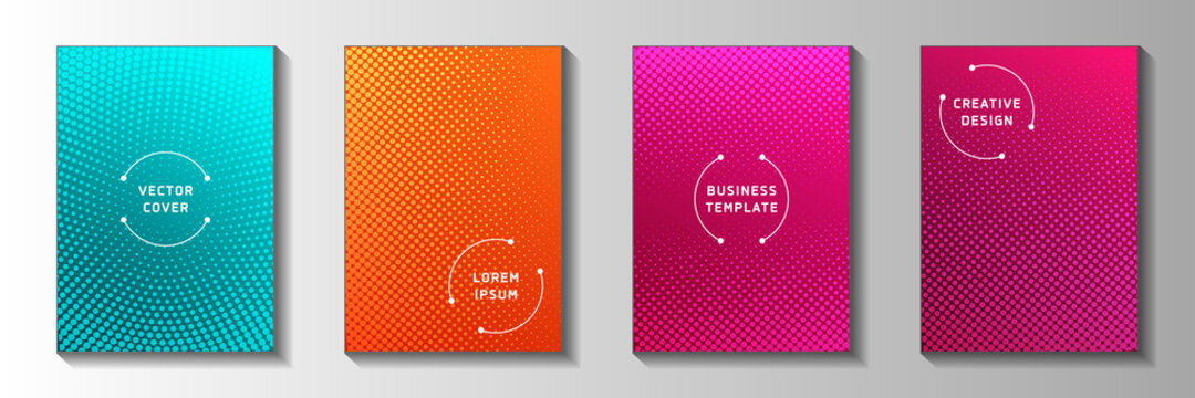 Simple dot faded screen tone cover page templates vector set. Medical poster perforated screen tone