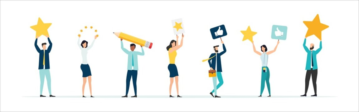 Customer feedback, testimonial, online survey concept. Group of people rating customer experience, writing review, leaving feedback. Client, user satisfaction. Isolated flat vector illustration