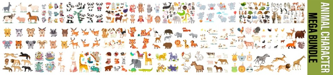 Obraz Big bundle of funny domestic and wild animals, marine mammals, reptiles, birds and fish. Collection of cute cartoon characters isolated on white background. Colorful vector illustration in flat style. - fototapety do salonu