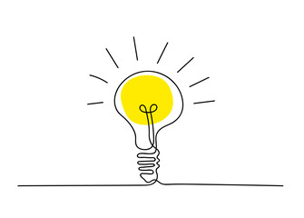 Continuous line light bulb. Single path drawing. Vector illustration.