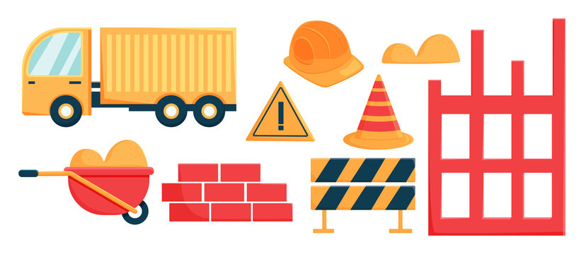 Construction set in flat cartoon style. Construction cone and lorry. The stacked bricks lie with a construction helmet. Vector