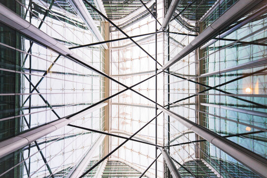 Futuristic glass ceiling of modern building