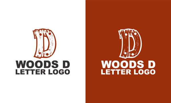 Abstract letter D logo with wood veins logo vector icon illustration concept. Wood and timber texture symbol logo.  modern and creative logo design.