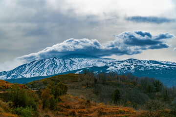 Scenic View Of Snowcapped Mountains Against Sky. Etna Volcano Fototapete