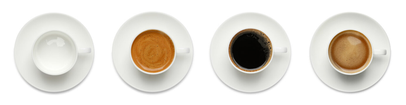 Set with cups of hot aromatic coffee on white background, top view. Banner design