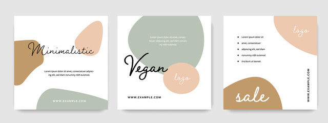 Earth colours social media templates, rounded shapes design in instagram and facebook post layouts, square web banners with trendy earth accent, vegan idea