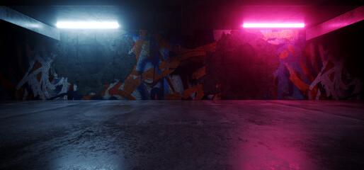 Neon Lights Grunge Graffiti Street Wall Sci Fi Underground Garage Car Room Cement Asphalt Concrete Brick Wall Realistic Blue Purple Colors Cyber Background 3D Rendering