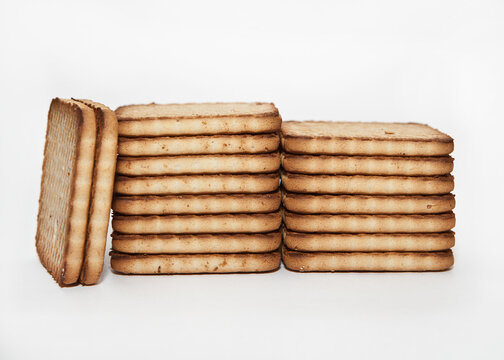 Stacks of cookies on a white background