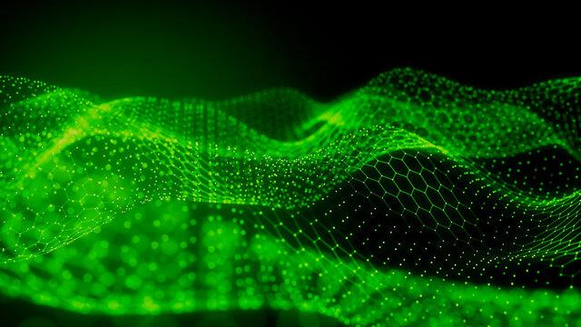 Big Data Concept. Green, Futuristic Digital Style. 3D Render.
