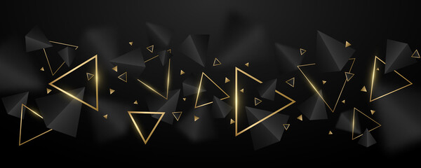 Obraz Abstract, geometric background. 3d, black and golden triangles. Elegant wallpaper design for template, cover or banner. Decorative, polygonal shapes. Vector illustration - fototapety do salonu