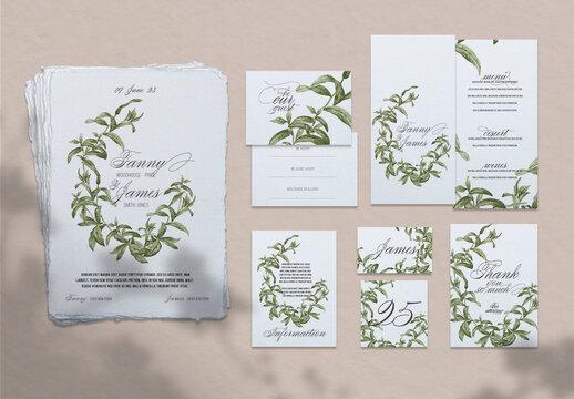 Green Wedding Stationery Set