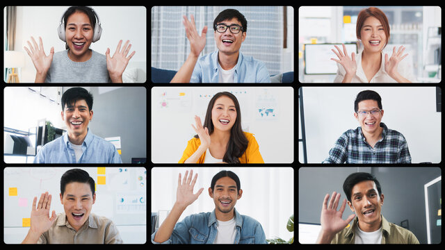 Group of young Asian business people, office coworker on video online conference call, remote team meeting. Work from home, internet communication technology, coronavirus social distancing lifestyle