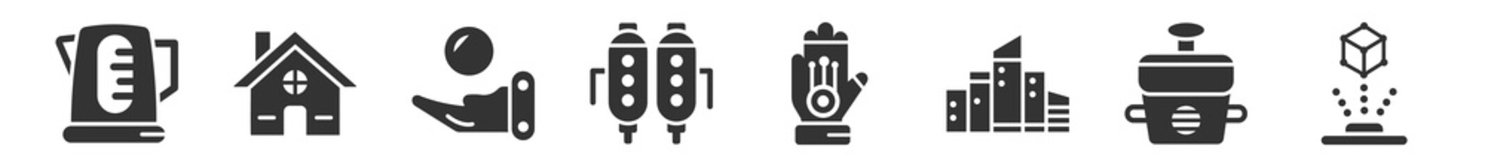 Obraz filled set of future technology icons. glyph vector icons such as kettle, residential, telekinesis, jetpack, wi gloves, hologram. vector illustration. - fototapety do salonu