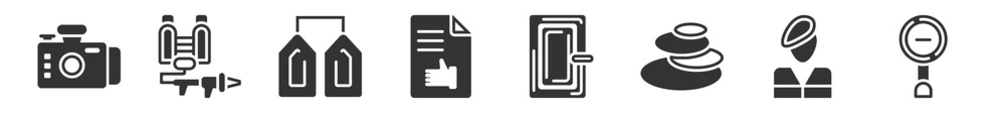 filled set of miscellaneous icons. glyph vector icons such as front camera, flame thrower, granary, enlist, room door, diminish. vector illustration.