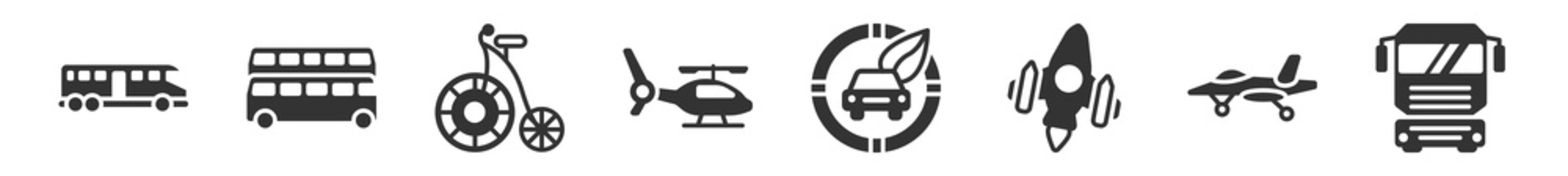filled set of transport icons. glyph vector icons such as bus vehicle, london, antique bicycle, chopper, zero emission badge, truck front view. vector illustration.