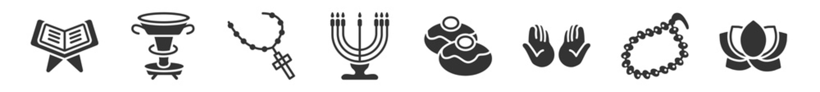 filled set of religion icons. glyph vector icons such as reading quran, laver of washing, rosary, big menorah, sufganiyah, lotus. vector illustration.