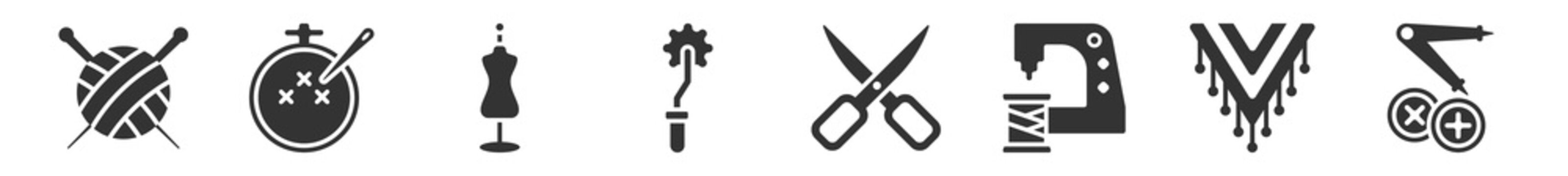 filled set of sew icons. glyph vector icons such as knitting neddles, embroidery, mannequin, overstitch, sewing scissors, sewing craft. vector illustration.