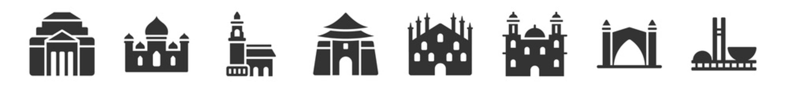 filled set of monuments icons. glyph vector icons such as shrine of remembrance, badshahi mosque, tower of nevyansk in russia, chiang kai shek memorial hall, milan cathedral, national congress