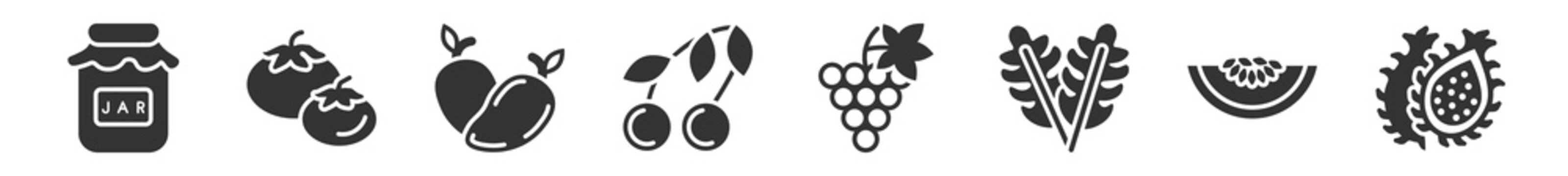 filled set of fruits and vegetables icons. glyph vector icons such as mason jar, tomato, mango, cherry, grapes, dragon fruit. vector illustration.