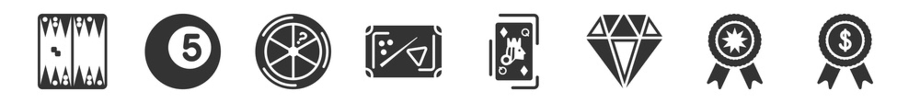 filled set of gaming icons. glyph vector icons such as backgammon, billiard ball, trivial, pool table, queen of diamonds, money award. vector illustration.