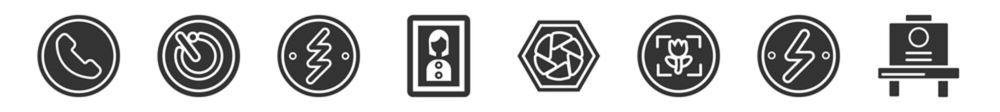 filled set of electronic stuff fill icons. glyph vector icons such as phone receiver, camera timer, blitz flash, portrait, aperture, old camera. vector illustration.