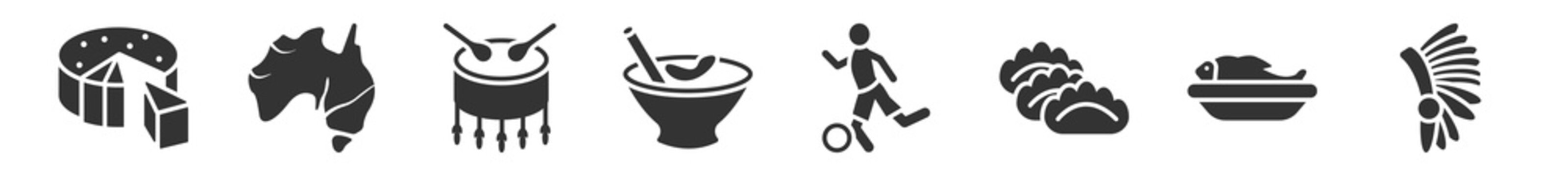 filled set of culture icons. glyph vector icons such as goat cheese, australian continent, native american drum, crema catalana, brazil soccer player, indian headdress. vector illustration.