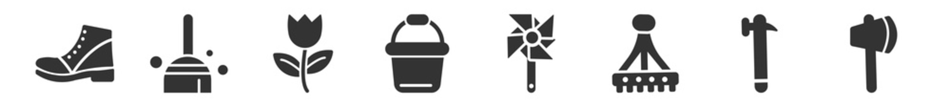 filled set of gardening icons. glyph vector icons such as boot shoes, brooming, tulip, pail, pinwheel, wood cutting. vector illustration.