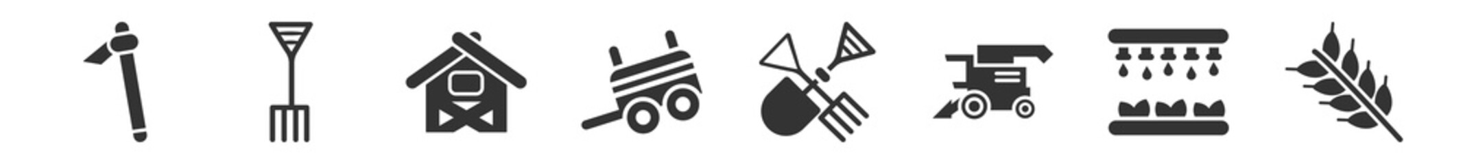 Obraz filled set of agriculture farming icons. glyph vector icons such as hoe, pitchfork, shed, farm trailer, farm tools, cereals. vector illustration. - fototapety do salonu