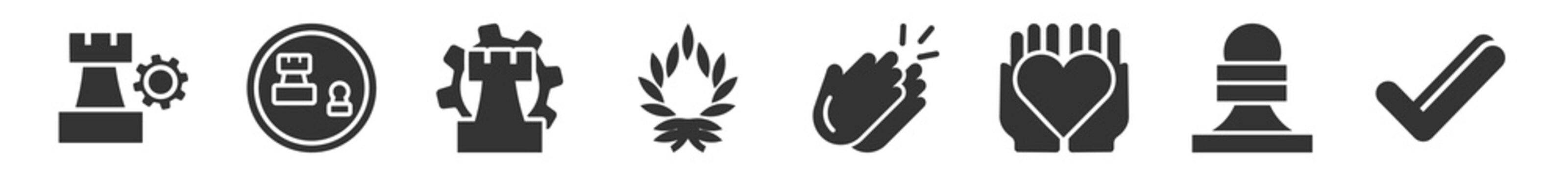 filled set of startup strategy and icons. glyph vector icons such as strategy, strategy game, management, wreath, clap, valid. vector illustration.