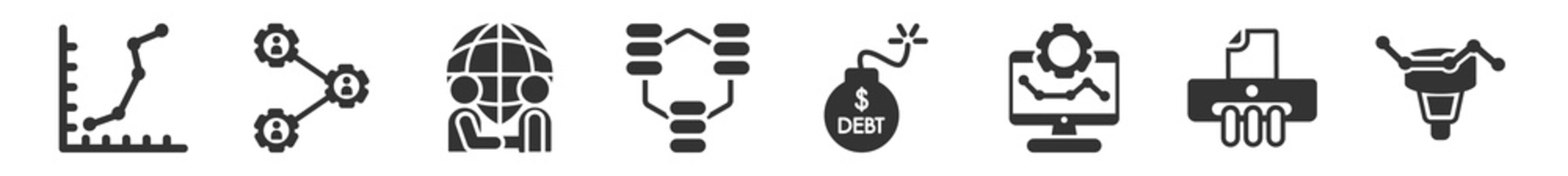 filled set of business and analytics icons. glyph vector icons such as dot, users interconnected, partnership, connected data, debt, funneling data. vector illustration.
