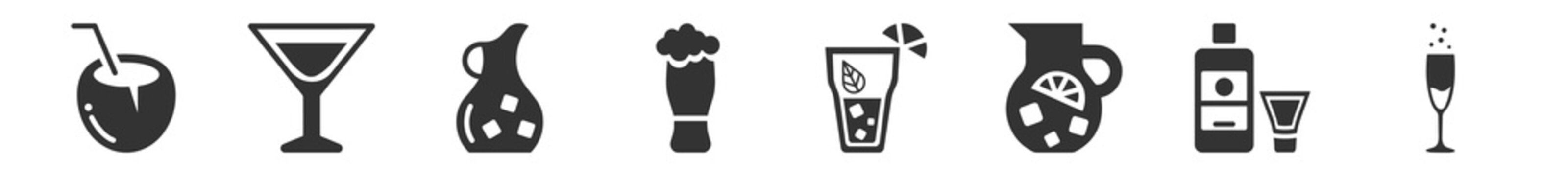 filled set of drinks icons. glyph vector icons such as coconut drink, manhattan drink, jug, beer, cuba libre, champagne. vector illustration.