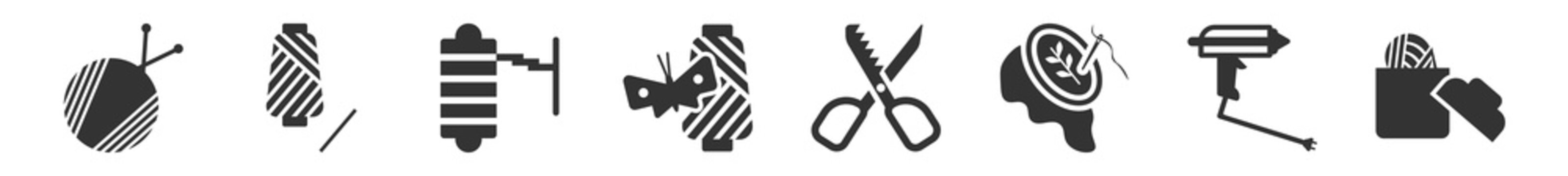 filled set of sew icons. glyph vector icons such as yarn, thread spool, tracing wheel, silk, pinking shears, sewing basket. vector illustration.