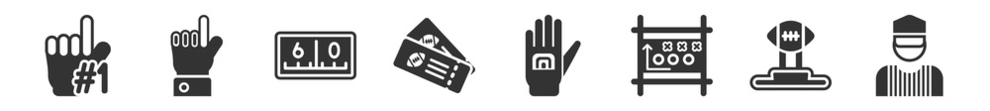 filled set of american football icons. glyph vector icons such as foam finger, hand with extended pointing finger, yard marking, american football ticket, glove for, referee. vector illustration.