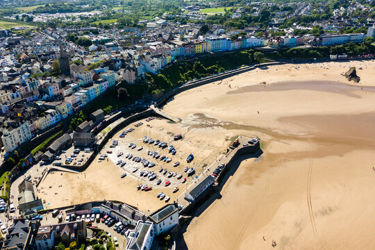 Aerial view a harbour at low tide in Tenby, Wales