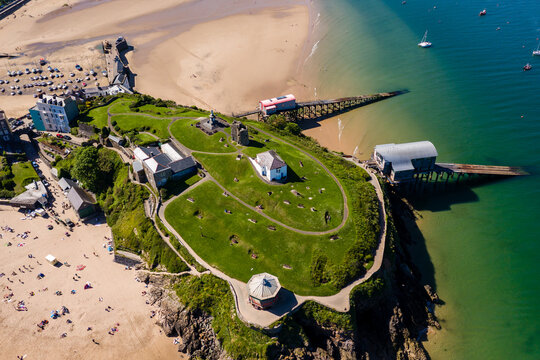 Aerial view of the beac and park in the Welsh town of Tenby