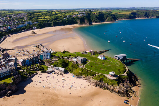 Aerial view of the picturesque Welsh seaside town of Tenby