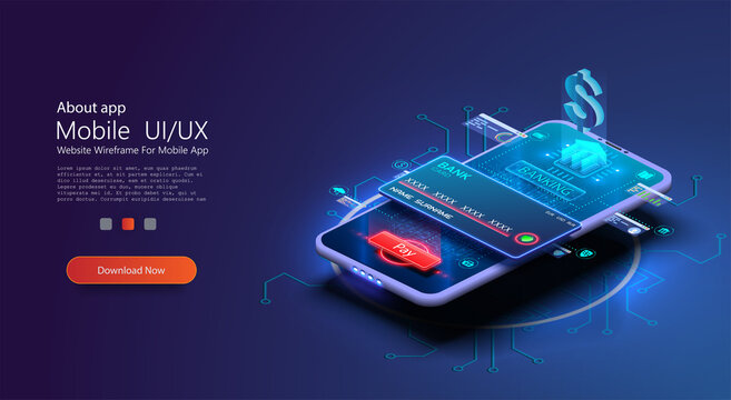 Blue Online banking app landing page. Smart wallet concept with credit, debit card payment application. Gadget of future, smartphone tech payment. Flat Isometric vector illustration. E-payment screen