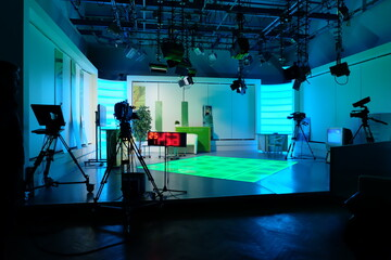 Obraz equipment of a television studio in blue lights - fototapety do salonu