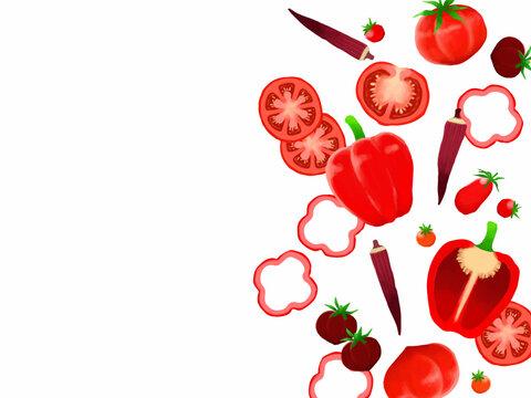 赤色の夏野菜のイラストフレーム、手描き