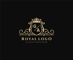Fototapeta Initial GA Letter Luxurious Brand Logo Template, for Restaurant, Royalty, Boutique, Cafe, Hotel, Heraldic, Jewelry, Fashion and other vector illustration. obraz